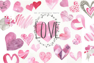 Print on Demand: Set of Watercolor Hearts Graphic Illustrations By laffresco04