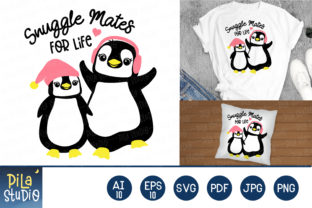 Snuggle Mates for Life Penquins Svg Graphic Illustrations By Pila Studio