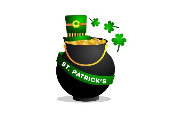 Print on Demand: St Patrick's Hat with Coins Illustration Graphic Illustrations By Muhammad Rizky Klinsman