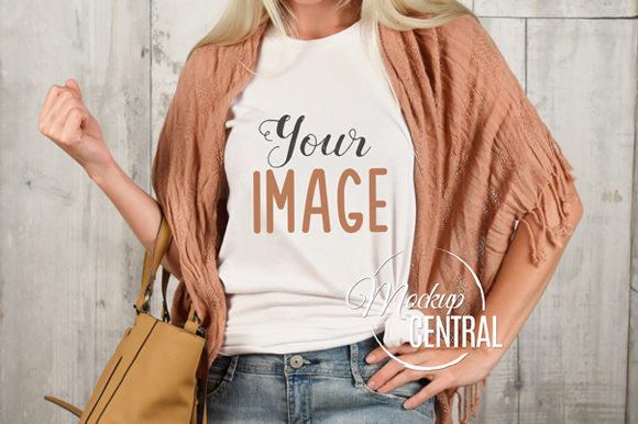 T-Shirt Mockup on Woman Girl Model Graphic Product Mockups By Mockup Central