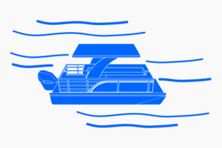 Top Side View Monochrome Pontoon Boat Graphic Objects By faqeeh