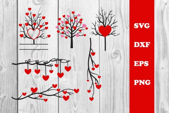 Print on Demand: Tree Heart, Tree Valentine Cut File Svg Graphic Print Templates By dadan_pm