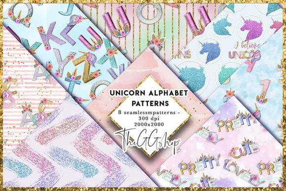 Print on Demand: Unicorn Alphabet Seamless Patterns Graphic Patterns By TheGGShop