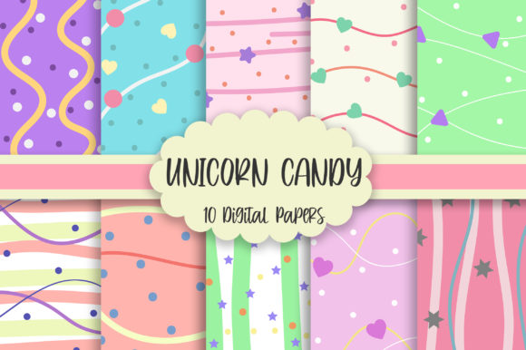 Unicorn Candy Background Digital Papers Graphic Backgrounds By PinkPearly