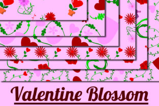 Print on Demand: Valentine Blossom Pattern Grafik Muster von Mahesa Design