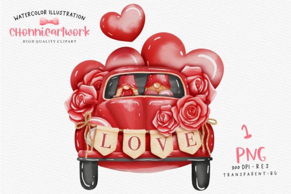 Valentine's Day Gnome and Volkswagen Car Graphic Crafts By Chonnieartwork