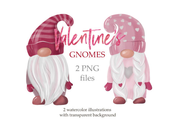 Valentine's Gnomes Clipart Graphic Illustrations By lena-dorosh