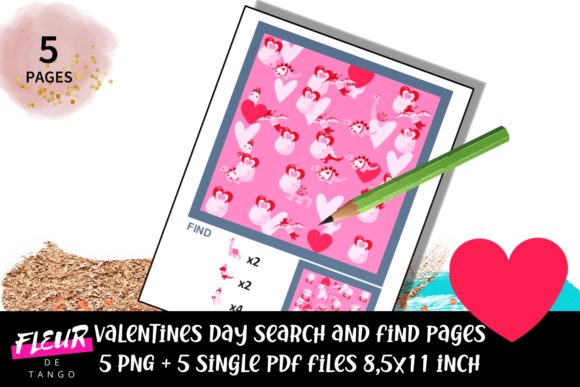 Print on Demand: Valentines Search and Find Dino Pages Graphic Teaching Materials By Fleur de Tango