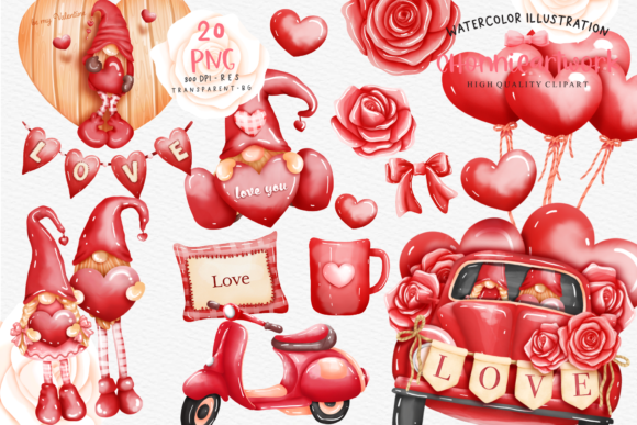 Valentine's Day Gnome Bundle Graphic Crafts By Chonnieartwork