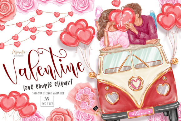Valentine's Day Clipart, Love Couple Gráfico Ilustraciones Por Hippogifts