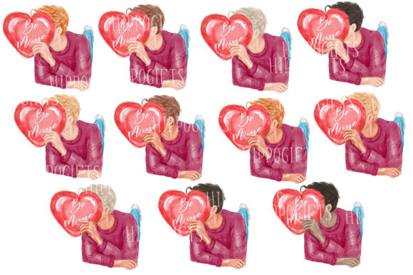 Valentine's Day Clipart, Love Couple Graphic Download