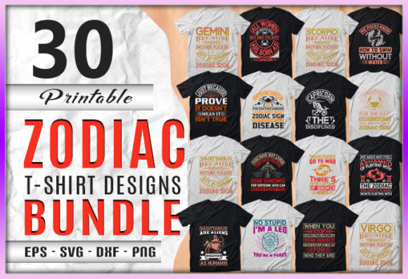 Print on Demand: Zodiac  30 Quotes T-shirt Designs Bundle Graphic Print Templates By CraftStudio