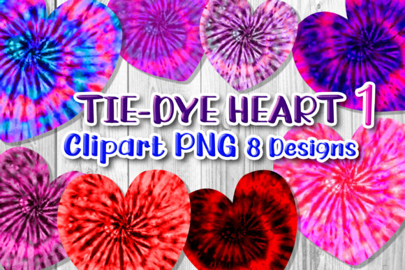 Print on Demand: 8 Tie-Dye Hearts Clipart PNG Set 1 Graphic Print Templates By V-Design Creator