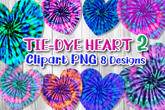 Print on Demand: 8 Tie-Dye Hearts Clipart PNG Set 2 Graphic Print Templates By V-Design Creator
