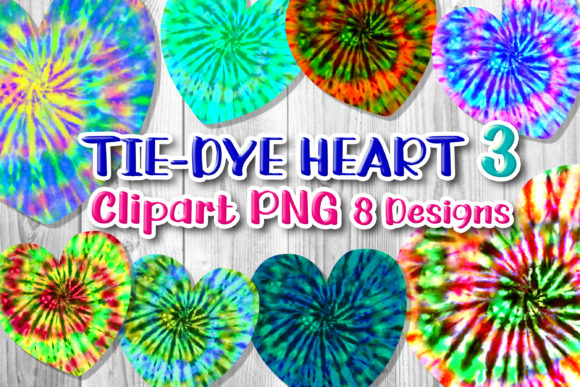 Print on Demand: 8 Tie-Dye Hearts Clipart PNG Set 3 Graphic Print Templates By V-Design Creator