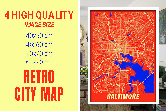 Baltimore - Maryland Retro City Map Gráfico Fotografías Por pacitymap