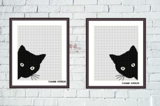 Print on Demand: Black Cat Cute Animals Cross Stitch 2 Pc Graphic Cross Stitch Patterns By Tango Stitch