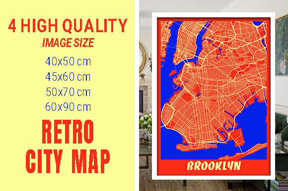 Brooklyn - United States Retro City Map Gráfico Fotografías Por pacitymap