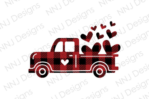 Print on Demand: Buffalo Plaid Valentines Red Truck Graphic Illustrations By NNJ Designs