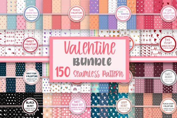 Bundle Valentine Seamless Pattern Graphic Patterns By PearlyDaisy