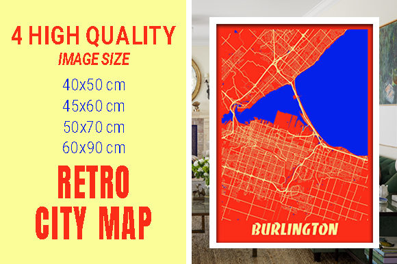 Burlington - Canada Retro City Map Gráfico Fotografías Por pacitymap