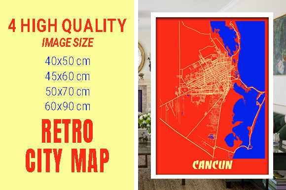 Cancun - Mexico Retro City Map Gráfico Fotografías Por pacitymap