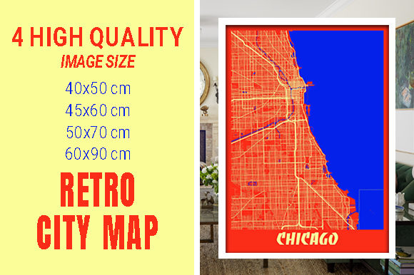 Chicago - Illinois Retro City Map Gráfico Fotografías Por pacitymap
