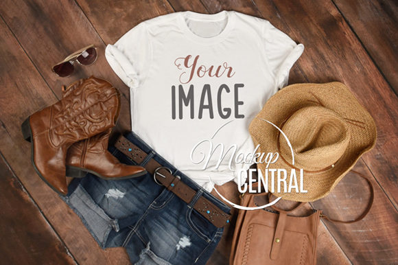 Country Cowgirl Rustic T-Shirt Mockup Graphic Product Mockups By Mockup Central