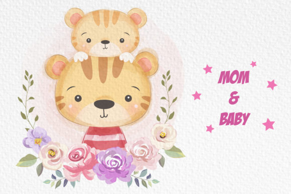 Cute Animal Mommy and Baby Clipart Graphic Illustrations By DrawStudio1988