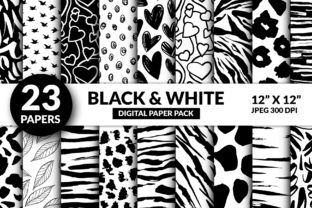 Cute Black and White Digital Paper Graphic Illustrations By ilonitta.r