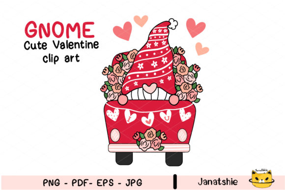 Cute Gnome Valentine in Flower Truck Graphic Illustrations By Janatshie