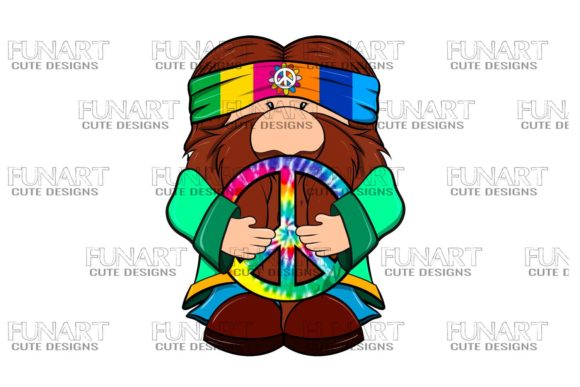 Cute, Hippie , Gnome 2 Degital File Graphic Illustrations By Fundesings