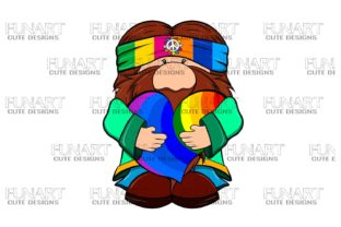 Cute ,Hippie , Gnome 3 Digital Design Graphic Illustrations By Fundesings