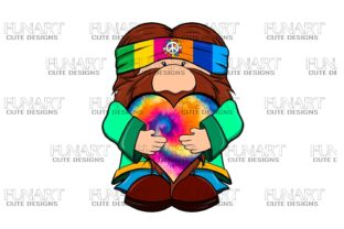 Cute ,Hippie , Gnome 4 Digital File Graphic Illustrations By Fundesings