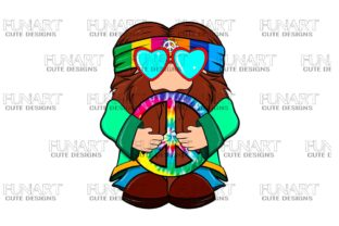 Cute, Hippie , Gnome , Digital Design Graphic Illustrations By Fundesings