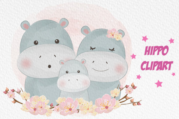 Cute Hippo Family Clipart Graphic Illustrations By DrawStudio1988