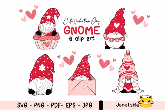Cute Valentine Gnome in Red Collection Graphic Illustrations By Janatshie