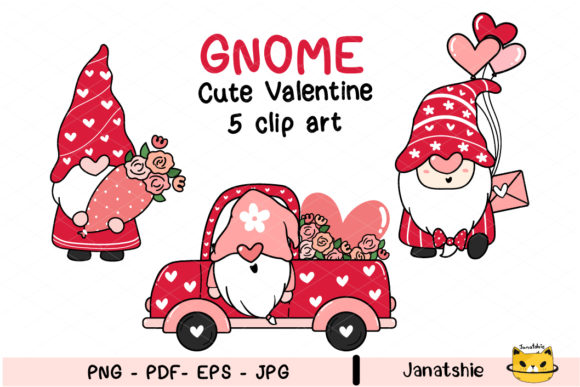 Cute Valentine Gnome in Truck Set Graphic Illustrations By Janatshie