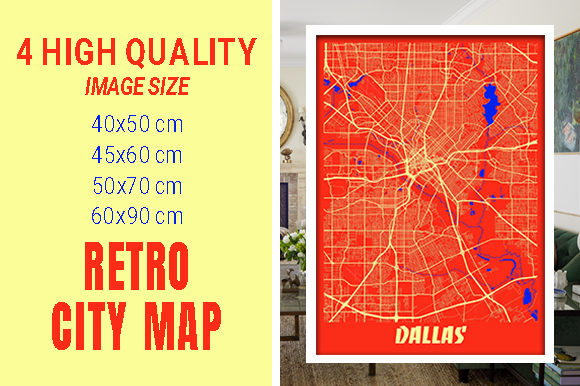 Dallas - United States Retro City Map Gráfico Fotografías Por pacitymap