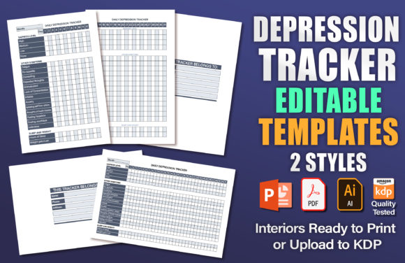 Depression Tracker Editable KDP Template Graphic KDP Interiors By okdecoconcept