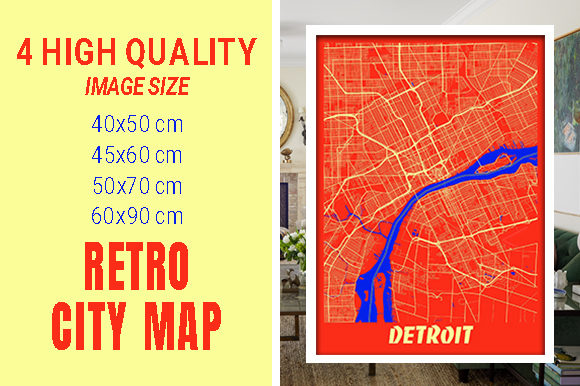Detroit - Michigan Retro City Map Gráfico Fotografías Por pacitymap