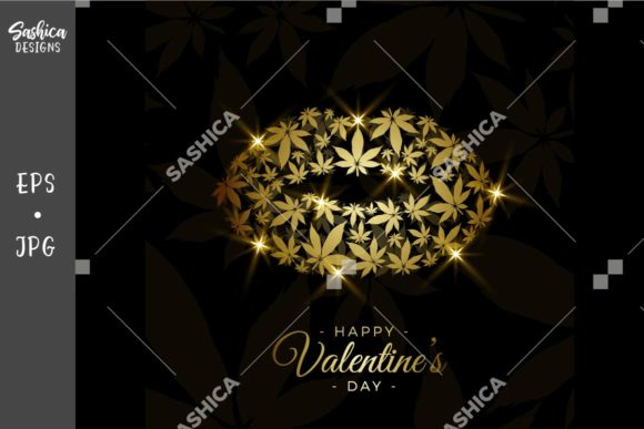 Gold Lips with Marijuana Leaves Vector Graphic Illustrations By sashica designs