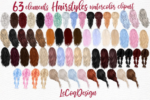 Hairstyles Clipart,Girls Hairstayles Graphic Illustrations By LeCoqDesign