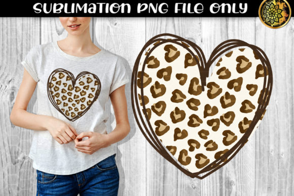 Print on Demand: Heart Leopard Sublimation PNG Clipart 1 Graphic Print Templates By V-Design Creator