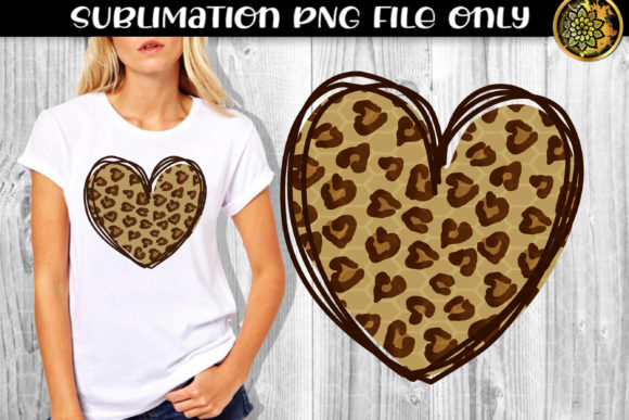 Print on Demand: Heart Leopard Sublimation PNG Clipart 2 Graphic Print Templates By V-Design Creator