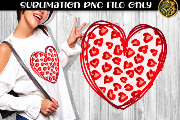 Print on Demand: Heart Leopard Sublimation PNG Clipart 4 Graphic Print Templates By V-Design Creator