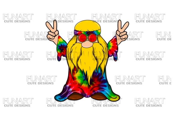 Hipie Peace Gnome 11 Digital Design Graphic Illustrations By Fundesings