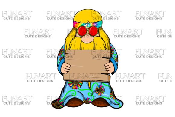 Hippie Gnome Peace 4 Digital Design Graphic Illustrations By Fundesings