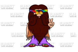 Hippie Gnome , Peace, Digital Design Graphic Illustrations By Fundesings