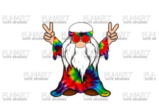 Hippie Peace Gnome 10 Digital Design Graphic Illustrations By Fundesings